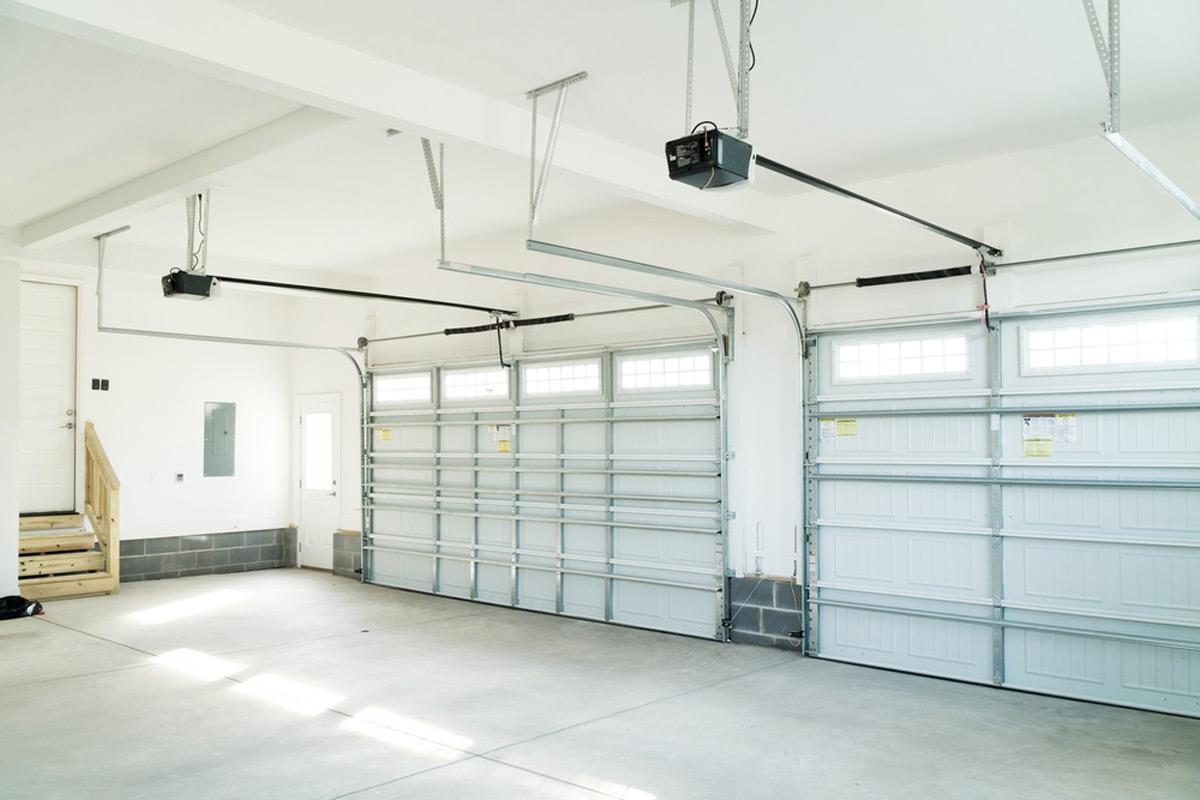 white garage door with opener