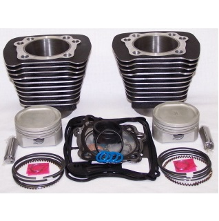 Harley Davidson Sportster black cylinders with pistons, rings and gaskets big bore conversion kit