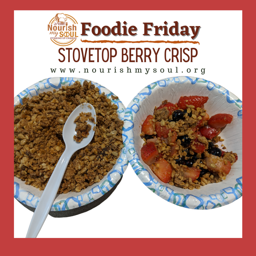 Foodie Friday with 1 bowl of streusel topping and another with berry crisp