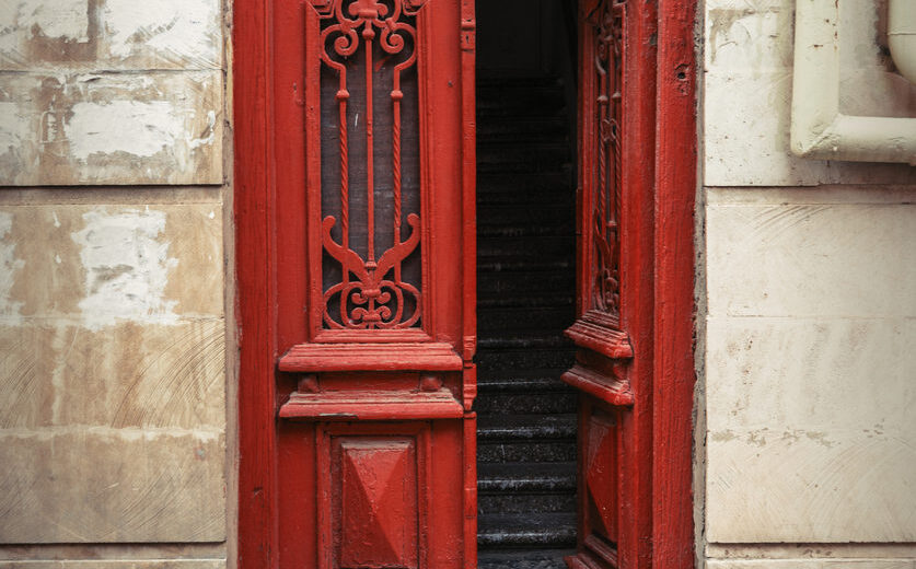 Vintage wooden door, entrance to old house
