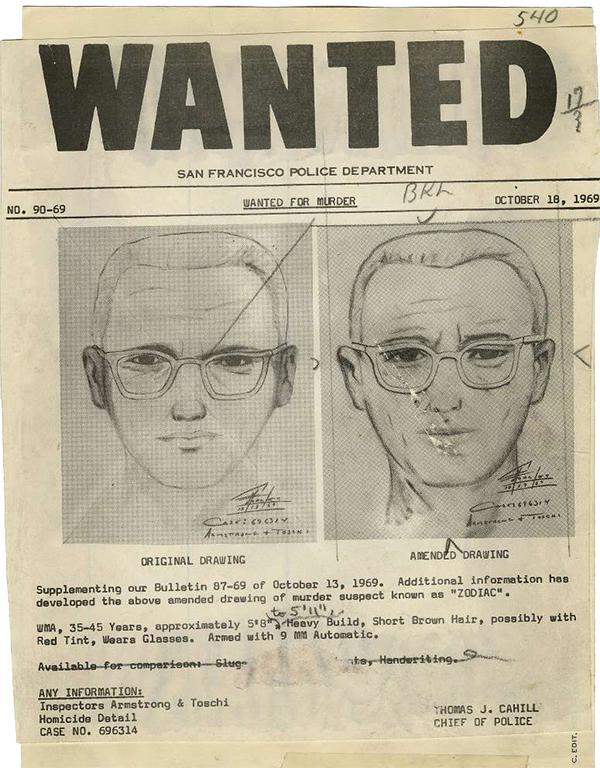San Francisco police dept wanted poster of the Zodiac Killer