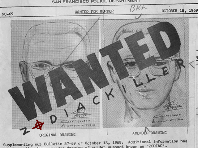 wanted poster with zodiac killer logo
