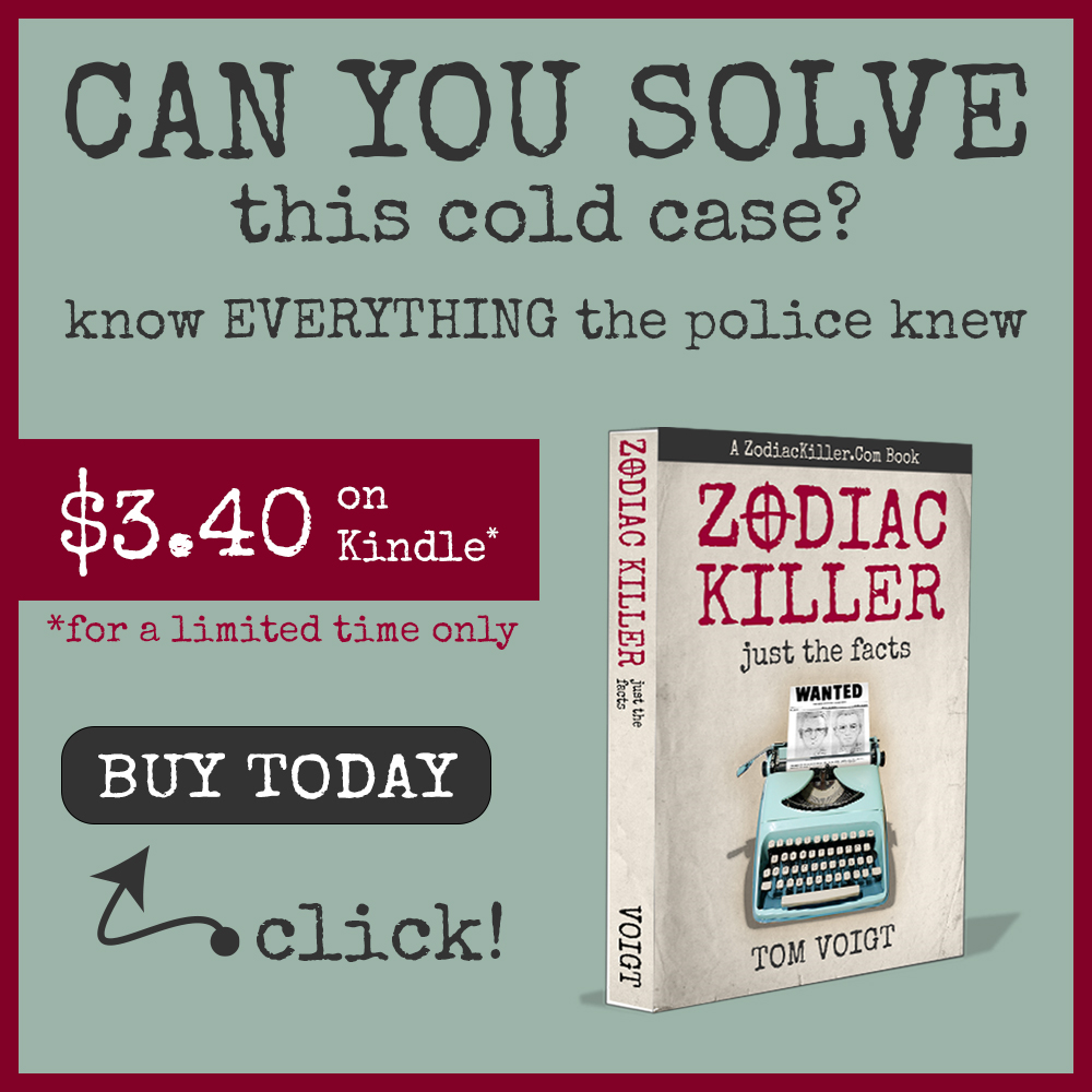 Zodiac Killer Book available on Amazon Kindle
