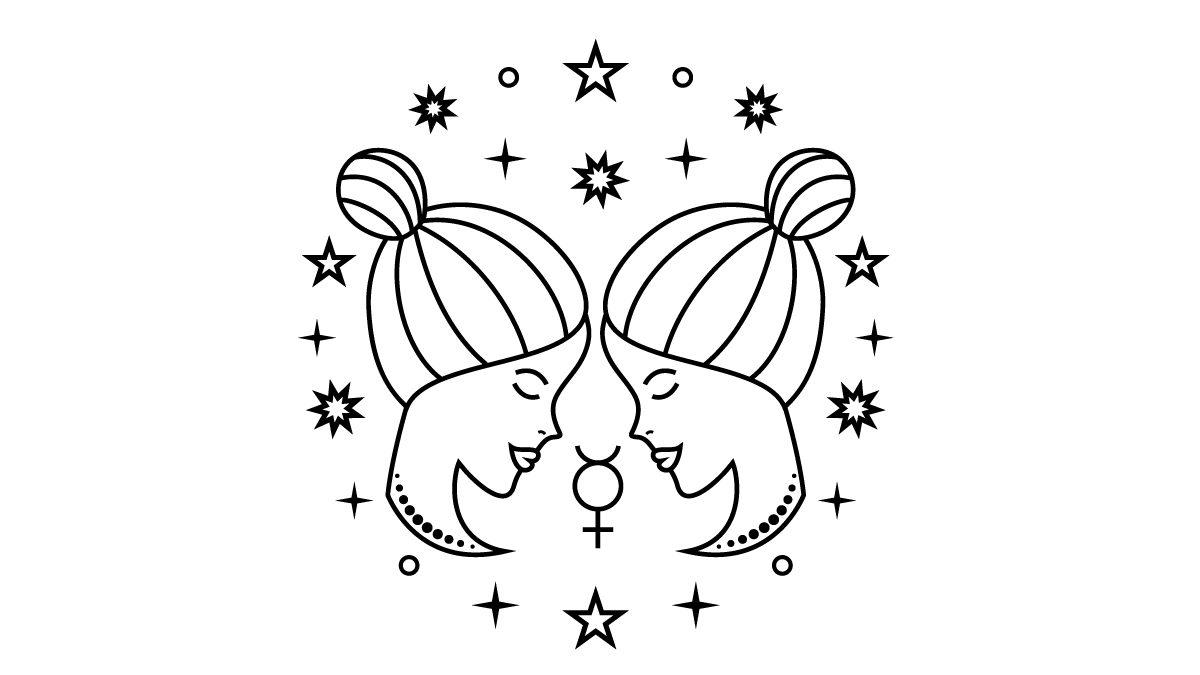 Illustration of Gemini the twins - gemini season