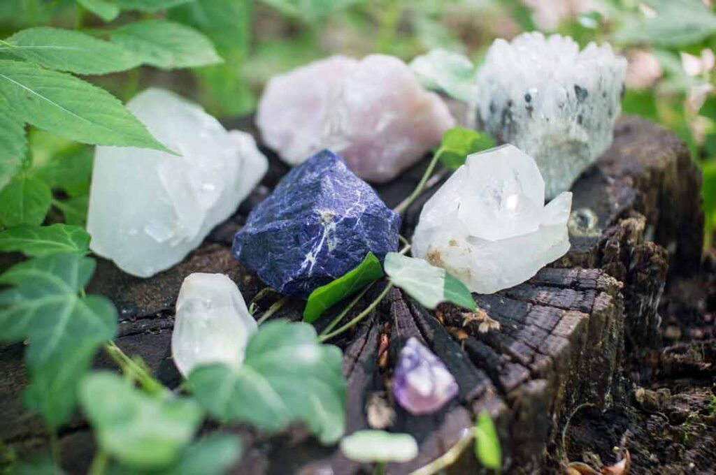 collection of healing crystals and stones