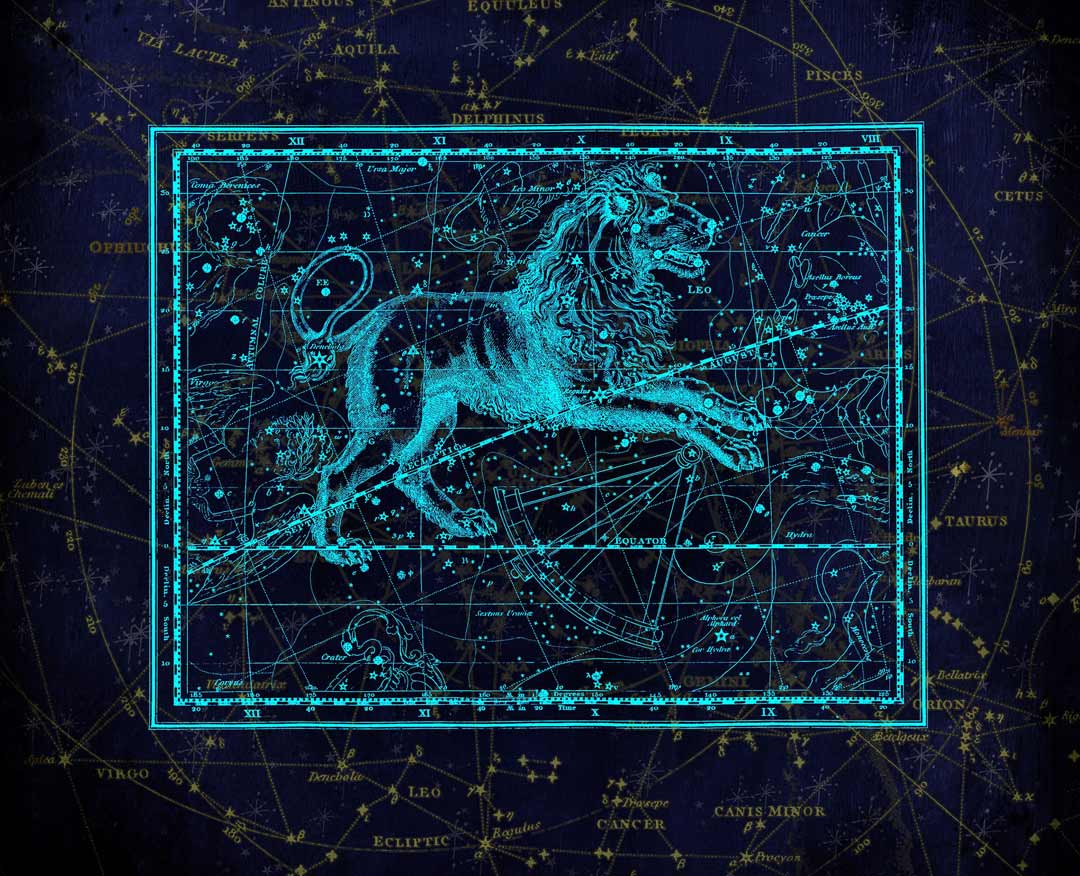 Chicago Reiki - Image of Leo the Lion within the constellations in the background - Reiki Meditation