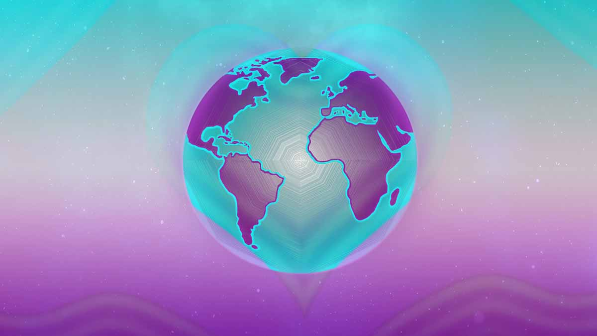 Earth surrounded by a heart - Jerry Mikutis - Reiki Chicago Peace Meditation- Heartbeat of Mother Earth