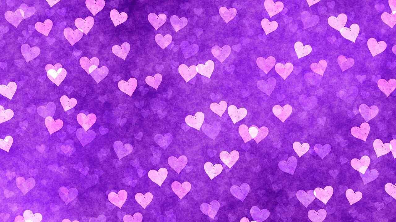 white hearts a purple background - Jerry Mikutis - Chicago Reiki Level 1 & 2 Class - November 2021