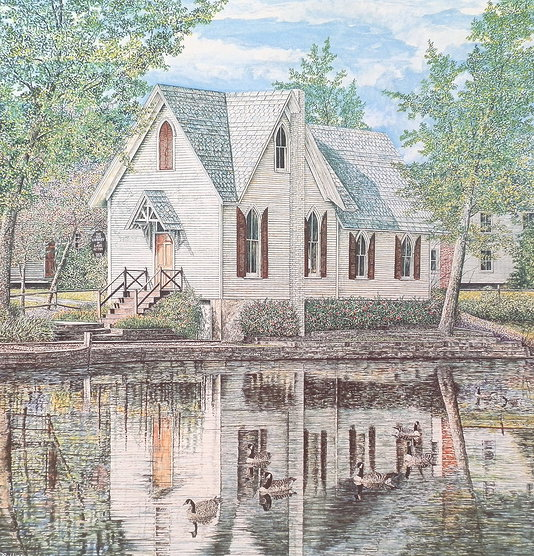 Lake Afton Library offset print by James Redding