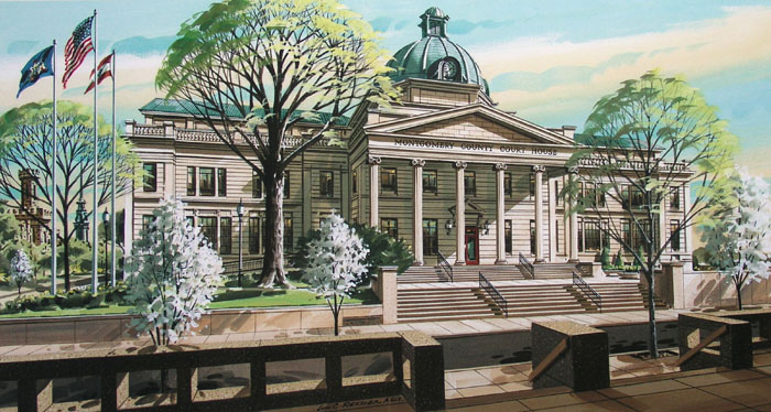 Montgomery County Courthouse Giclee by William Ressler