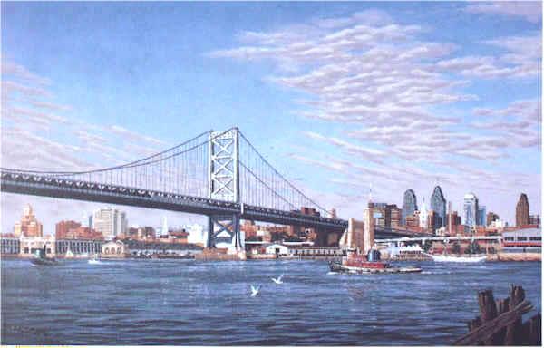 Benjamin Franklin Bridge by William Dawson
