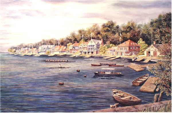 Boathouse Row-Circa 1890 by William Dawson