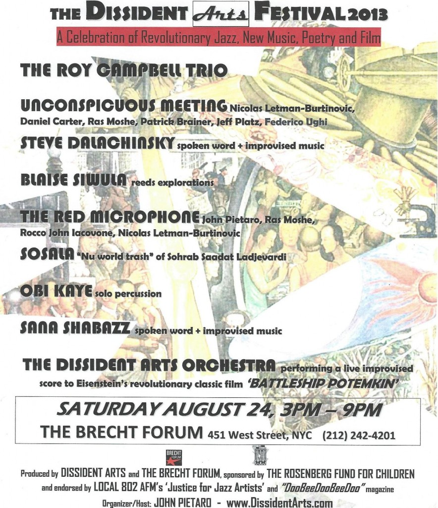 DISSIDENT ARTS FESTIVAL 2013 POSTER SCAN