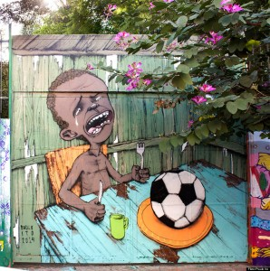 A mural by Brazilian street artist Paulo Ito on the side of a schoolhouse in São Paulo