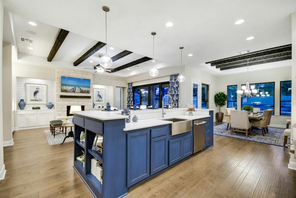 Blue kitchen island cabinets