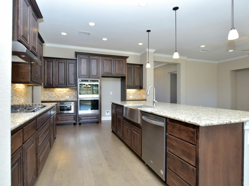 Kitchen cabinets with island stained mitered