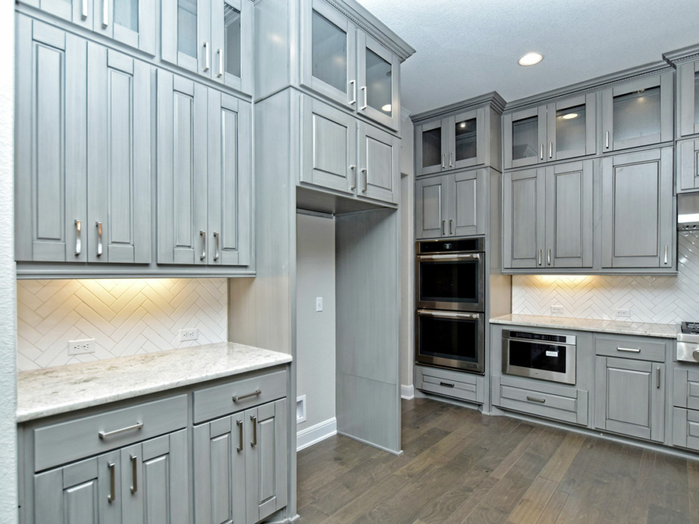 gray kitchen cabinets uppers to ceiling