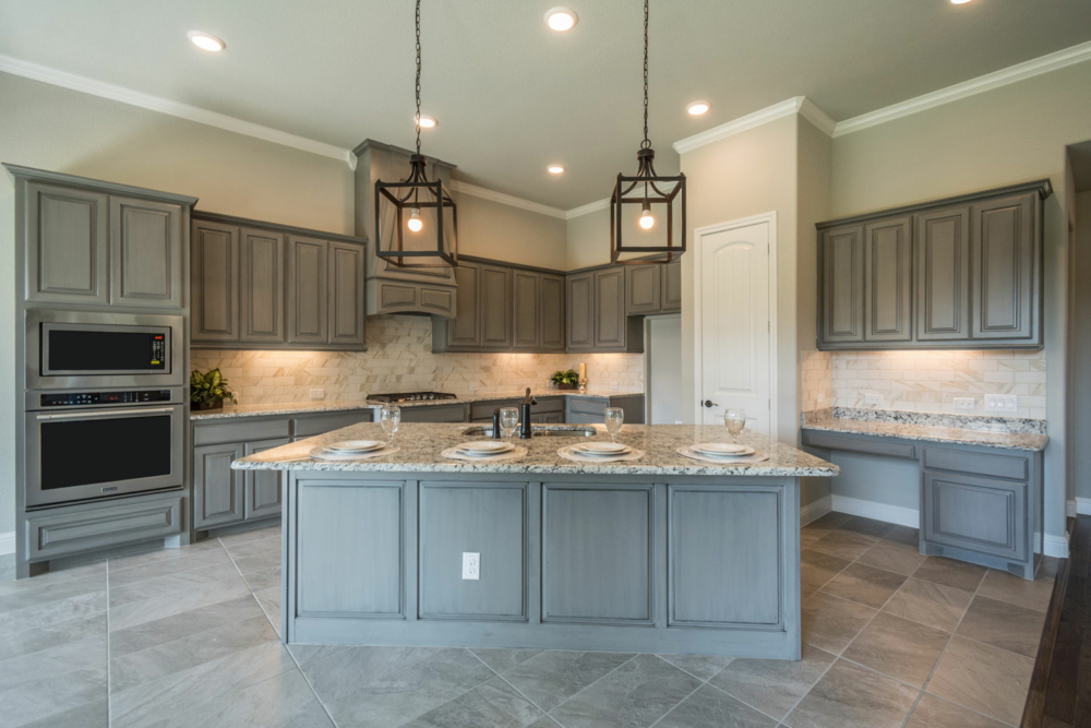 Cabinet Specialists Kitchen - Gray stain with wainscot island