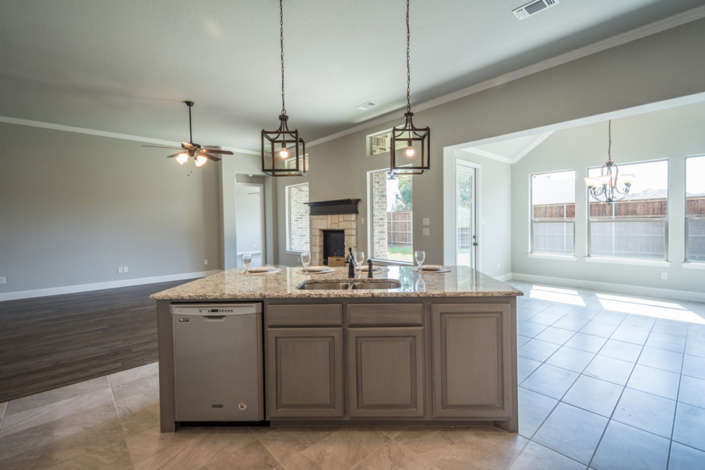 Cabinet Specialists Island interior in gray stain