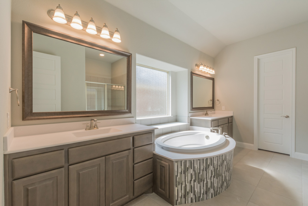 Master bath cabinets with gray stain