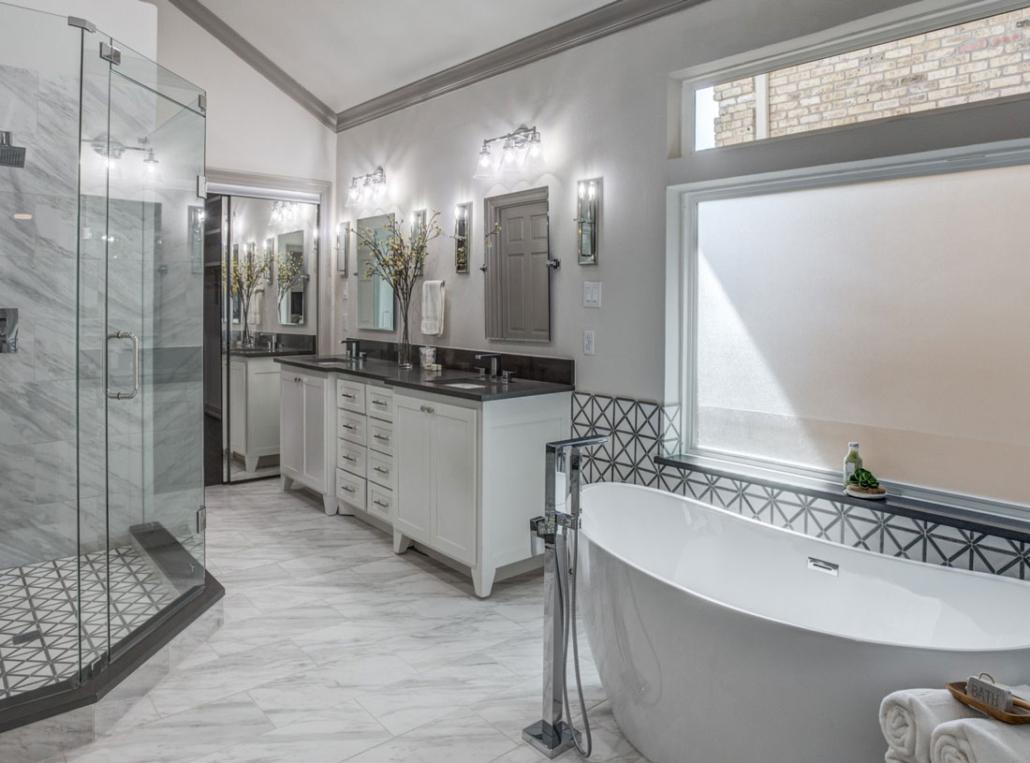 White bathroom Shaker doors