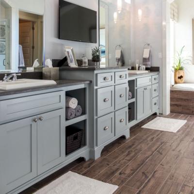 Primary bathroom shaker cabinets