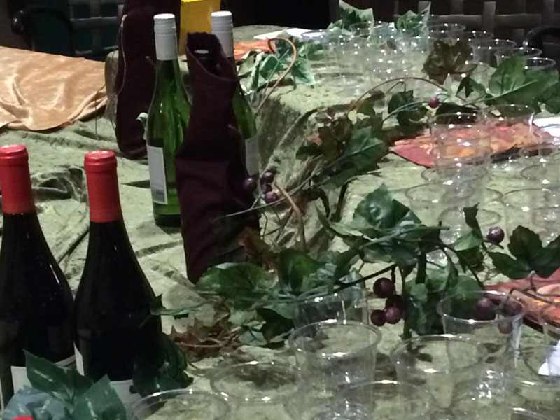 The wine tasting set up - decor just as important