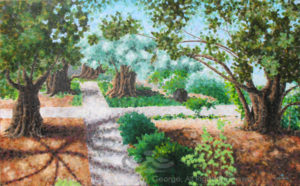 """Digital photo of acrylic painting entitled """"Garden of Gethsemane"""" © 2016 (Linda) """"Eilee"""" S. George, 30""""h x 48""""w, part of the Israel Series for Calvary Community Baptistt Church in Northglenn, CO; lovingly painted with squarish strokes in a Neo-Pixelist style in colors including ochre, cream, green, aqua, charcoal, taupe, sepia, blue, periwinkle, terra cotta, orange, yellow, mint green, gray, gold, brown and white, depicting the Garden of Gethsemane; includes the scripture: """"Father, if Thou be willing, remove this cup from Me; nevertheless, not My will but Thine, be done."""" - Luke 22:42 signed L. Eilee George with logo"""