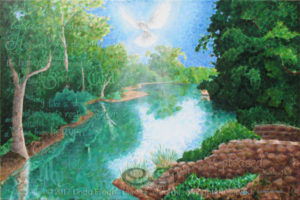 """Digital photo of acrylic painting entitled """"River Jordan"""" © 2017 (Linda) """"Eilee"""" S. George, 24""""h x 36""""w, part of the Israel Series for Calvary Community Baptistt Church in Northglenn, CO; lovingly painted with squarish strokes in a Neo-Pixelist style in colors including many greens, aqua, terra cotta, lime, ochre, cream, blue, periwinkle, charcoal, taupe, sepia, gold, brown and white, depicting River Jordan where Christ was baptized; includes the scripture: """"And when Jesus was baptized, immediately He went up from the water and behold, the heavens were opened to Him, and He saw the Spirit of God descending like a dove and coming to rest on Him and behold, a Voice from heaven said, """"This is My beloved Son, with Whom I am well pleased."""" - Matthew 3:16-17 signed L. Eilee George with logo"""