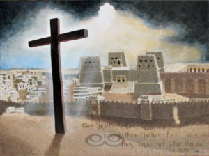 """Digital photo of acrylic painting entitled """"Calvary"""" © 2017 (Linda) """"Eilee"""" S. George, 36""""h x 48""""w, part of the Israel Series for Calvary Community Baptistt Church in Northglenn, CO; lovingly painted with squarish strokes in a Neo-Pixelist style in colors including ochre, cream, mauve, plum, charcoal, taupe, sepia, gold, brown, beige, blue, yellow and white, depicting the Cross aglow in light bursting from dramatic clouds over the Antonia Fortress adjacent to the Temple of Jerusalem in the Second Temple Period; includes the scripture: """"Then Jesus said, """"Forgive them, Father, for they know not what they do."""" - Luke 23:34 signed L. Eilee George with logo"""