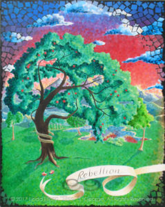 """Digital photo of acrylic painting entitled """"Rebellion: The Tree of Knowledge of Good and Evil"""" © 2017 (Linda) """"Eilee"""" S. George, 48""""w x 60""""h, part of the """"3 Trees"""" Triptych within the Israel Series for Calvary Community Baptist Church in Northglenn, CO; lovingly painted with squarish strokes in a Neo-Pixelist style in colors including ochre, cream, mauve, plum, red, salmon, yellow, purple, blue, olive, charcoal, black, green, lime, violet, fuschia, indigo, sepia, gold, brown and white, depicting the Tree of the Knowledge of Good and Evil in the Garden of Eden, a serpent wrapped around its trunk and two bitten and hastily discarded pieces of fruit at its roots; signed L. Eilee George with logo"""