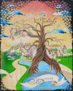 """Digital photo of acrylic painting entitled """"Reunion: The Tree of Life"""" © 2017 (Linda) """"Eilee"""" S. George, 48""""w x 60""""h, part of the """"3 Trees"""" Triptych within the Israel Series for Calvary Community Baptist Church in Northglenn, CO; lovingly painted with squarish strokes in a Neo-Pixelist style in colors including ochre, cream, mauve, plum, red, salmon, yellow, purple, blue, olive, charcoal, black, green, lime, violet, pink, periwinkle, sepia, gold, brown and white, depicting the Tree of Life in the New Jerusalem as it descends, a tree that grows on either side of the River of Life with 12 crops and leaves for the healing of nations which are represented by many styles of world architecture in the great City and lit by the throne from which the River emits as described in Revelation; signed L. Eilee George with logo"""