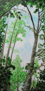 "Digital image of the acrylic painting entitled ""Arborolatree"" by L. ""Eilee"" S. George, 12""x24"", acrylic on canvas, painted in 2013, of trees in the forest near Gold Hill, Colorado during the summer"