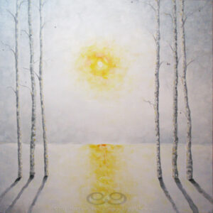 "Digital image of the acrylic painting entitled ""Burnout"" by L. ""Eilee"" S. George, 36""x36"", acrylic on canvas, painted in 2013, of trees flanking a view of a hazy sun during winter, the snow slightly melted and reflecting the glow"