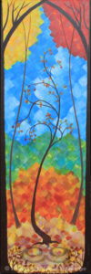 "Digital image of original acrylic painting by Linda Eileen S. George a.k.a. ""Eilee"" George entitled ""Autumn"" - part of a series of the Four Seasons, 36""h x 12""w"
