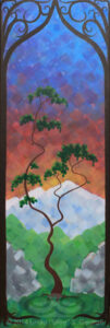 "Digital image of original acrylic painting by Linda Eileen S. George a.k.a. ""Eilee"" George entitled ""Summer"" - part of a series of the Four Seasons, 36""h x 12""w"
