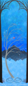 "Digital image of original acrylic painting by Linda Eileen S. George a.k.a. ""Eilee"" George entitled ""Winter"" - part of a series of the Four Seasons, 36""h x 12""w"