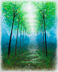 "Digital image of the acrylic painting entitled ""Catreedral"" by L. ""Eilee"" S. George, 48""x60"", acrylic on canvas, painted in 2012, of a dreamy stand of trees filtering powerful light spilling down from above"