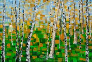 "Digital image of the acrylic painting entitled ""Colorussia I"" by L. ""Eilee"" S. George, 36""x24"", acrylic on canvas, painted in 2008, of a Colorado aspen grove in autumn"