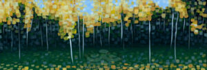 "Digital image of the acrylic painting entitled ""Colorussia II"" by L. ""Eilee"" S. George, 12""x24"", acrylic on canvas, painted in 2009, of an aspen grove in Rocky Mountain National Park during autumn near Estes Park, Colorado"