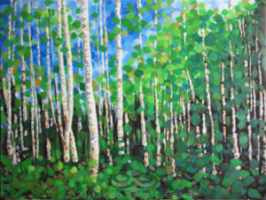 "Digital image of original acrylic/multimedia work by Linda Eileen S. George a.k.a ""Eilee"" George entitled 'Colorussia III'; 40"" w x 30"" h x .75"" d; a stylized summer scene with aspens against a blue sky"