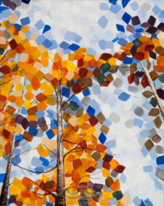 "Digital image of the acrylic painting entitled ""Colorussia IV"" by L. ""Eilee"" S. George, 18""x24"", acrylic on canvas, painted in 2011, of aspen trees growing skyward in autumn near Idaho Springs, Colorado"