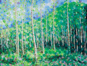 "Digital image of the acrylic painting entitled ""Colorussia V"" by L. ""Eilee"" S. George, 30""x40"", acrylic on canvas, painted in 2011, of an aspen grove in spring near Idaho Springs, Colorado"