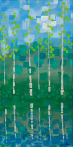 "Digital image of the acrylic painting entitled ""Colorussia IV a"" by L. ""Eilee"" S. George, 12""x24"", acrylic on canvas, painted in 2011, of Colorado aspens growing waterside in spring - 1st in a pair/diptych"