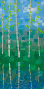 "Digital image of the acrylic painting entitled ""Colorussia IV b"" by L. ""Eilee"" S. George, 12""x24"", acrylic on canvas, painted in 2011, of Colorado aspens growing waterside in spring - 2nd in a pair/diptych"