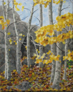 "Digital image of original acrylic painting by Linda Eileen S. George a.k.a ""Eilee"" George on canvas entitled 'Entree' painted in 2013; 8"" w x 10"" h; a representation of a glade of autumn aspens in front of a small cave near Gold Hill, Colorado, painted in a rectilinear, fractured style"