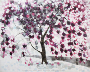 "Digital image of original acrylic/multimedia work by Linda Eileen S. George a.k.a ""Eilee"" George entitled 'Frostree' painted in 2013; 16""h x 20""w x .75"" d; a stylized spring scene of a blooming crabapple tree caught in snow"