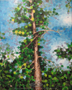 "Digital image of original acrylic painting by Linda Eileen S. George a.k.a ""Eilee"" George on canvas entitled 'Loftree' painted in 2013; 24"" h x 18"" w; a representation of a ponderosa in bright afternoon sun, in a rectilinear, fractured style"