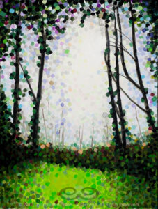 "Digital image of the acrylic painting entitled ""Luminositree"" by L. ""Eilee"" S. George, 18""x24"", acrylic on canvas, painted in 2012, of a backlit stand of trees near Portland, Oregon during spring along the Columbia River"