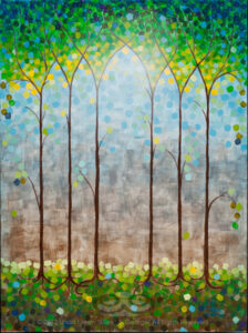 "Digital image of the acrylic painting entitled ""Ministree"" by L. ""Eilee"" S. George, 18""x24"", acrylic on canvas, painted in 2012, of a stylized stand of trees simulating gothic arches and stained glass"